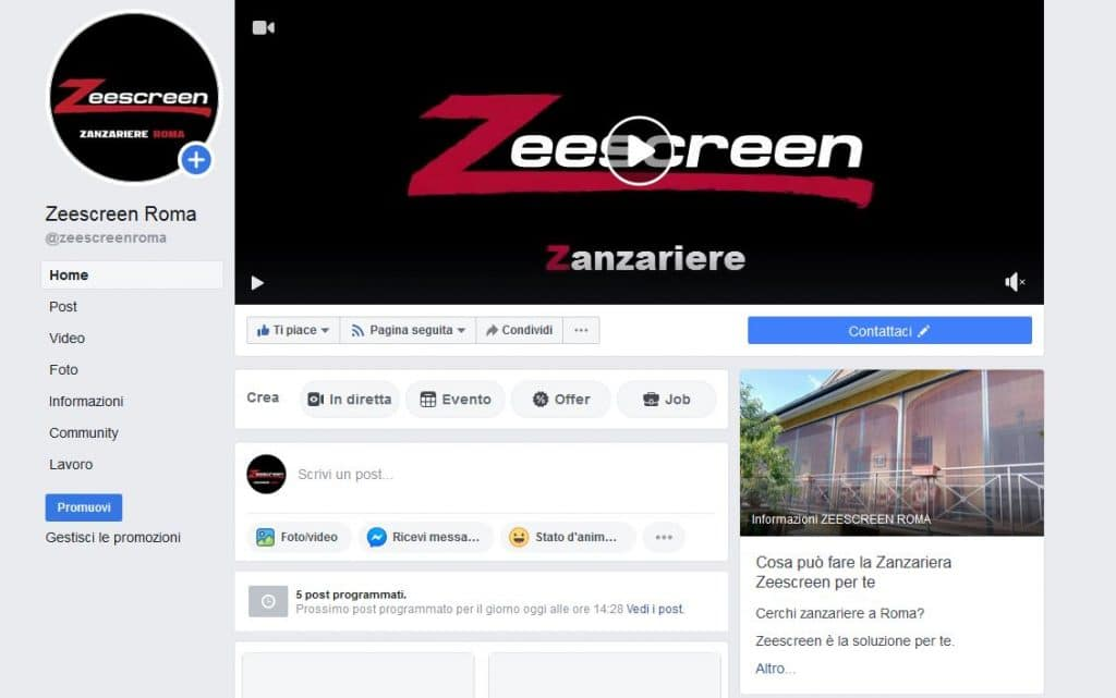 pagina facebook zeescreen